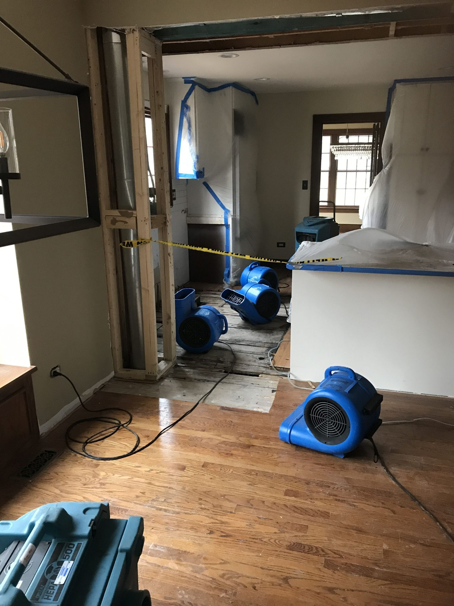 Drying out water damage leak in Portland home