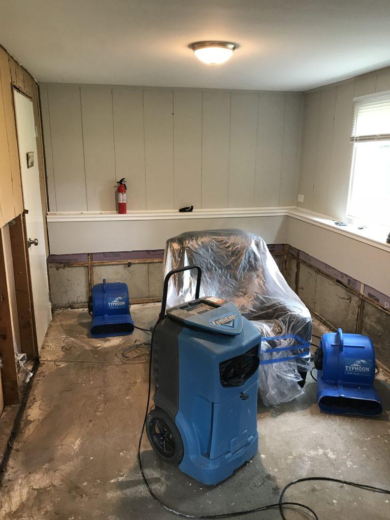 Daylight finished basement water leak damage repair