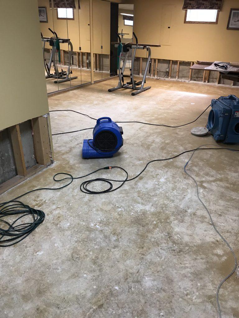 Restoring water damaged gym